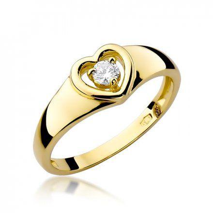 Biżuteria SAXO 14K Pierścionek z brylantem 0,10ct W-1 Złoty