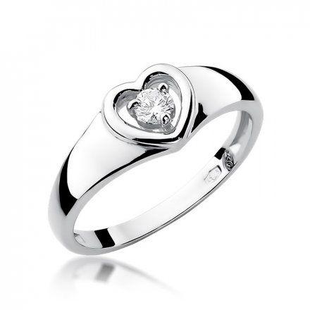 Biżuteria SAXO 14K Pierścionek z brylantem 0,10ct W-1 Białe Złoto