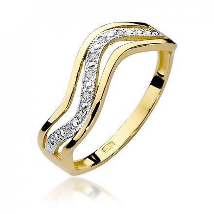 Biżuteria SAXO 14K Pierścionek z brylantami 0,06ct W-116  Złoty