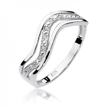Biżuteria SAXO 14K Pierścionek z brylantami 0,06ct W-116 Białe Złoto