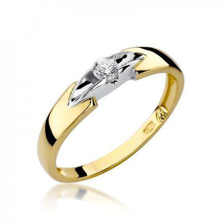 Biżuteria SAXO 14K Pierścionek z brylantem 0,10ct W-124 Złoty