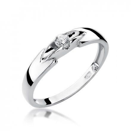 Biżuteria SAXO 14K Pierścionek z brylantem 0,10ct W-124 Białe Złoto