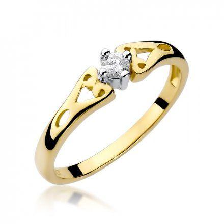 Biżuteria SAXO 14K Pierścionek z brylantem 0,10ct W-13 Złoty