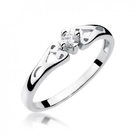 Biżuteria SAXO 14K Pierścionek z brylantem 0,10ct W-13 Białe Złoto