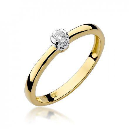 Biżuteria SAXO 14K Pierścionek z brylantem 0,10ct W-131 Złoty