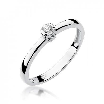 Biżuteria SAXO 14K Pierścionek z brylantem 0,10ct W-131 Białe Złoto