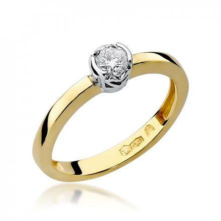 Biżuteria SAXO 14K Pierścionek z brylantem 0,25ct W-131 Złoty
