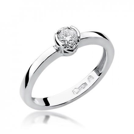 Biżuteria SAXO 14K Pierścionek z brylantem 0,25ct W-131 Białe Złoto