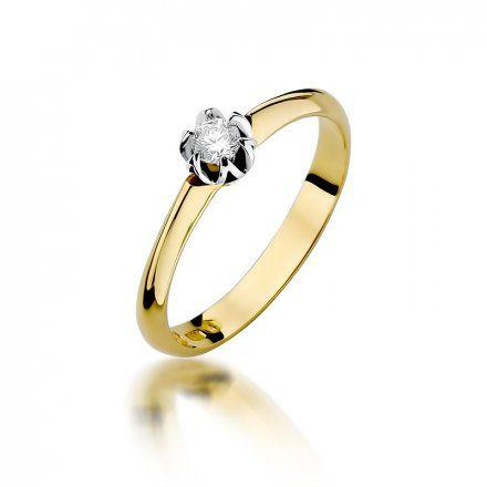 Biżuteria SAXO 14K Pierścionek z brylantem 0,10ct W-134 Złoty