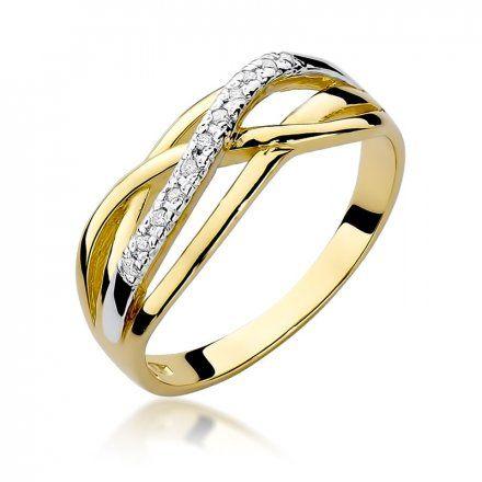 Biżuteria SAXO 14K Pierścionek z brylantami 0,10ct W-157 Złoty