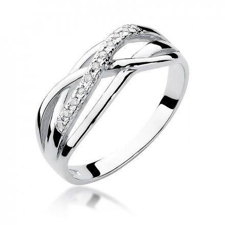 Biżuteria SAXO 14K Pierścionek z brylantami 0,10ct W-157 Białe Złoto