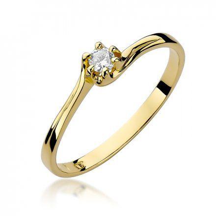 Biżuteria SAXO 14K Pierścionek z brylantem 0,10ct W-163 Złoty