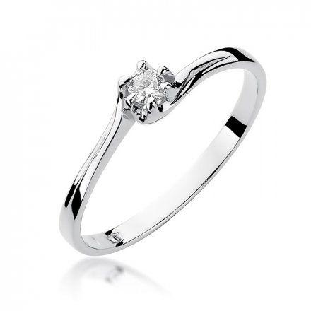 Biżuteria SAXO 14K Pierścionek z brylantem 0,10ct W-163 Białe Złoto