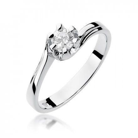 Biżuteria SAXO 14K Pierścionek z brylantem 0,30ct W-163 Białe Złoto