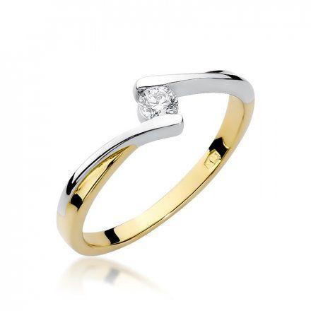Biżuteria SAXO 14K Pierścionek z brylantem 0,10ct W-180 Złoty