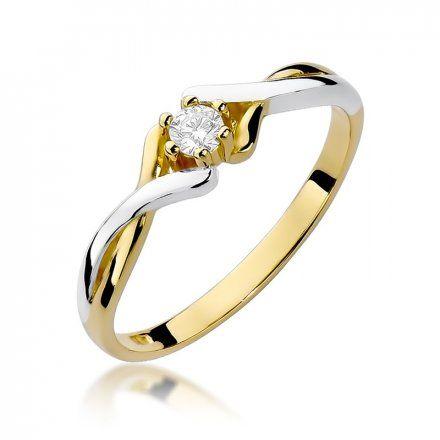 Biżuteria SAXO 14K Pierścionek z brylantem 0,10ct W-190 Złoty