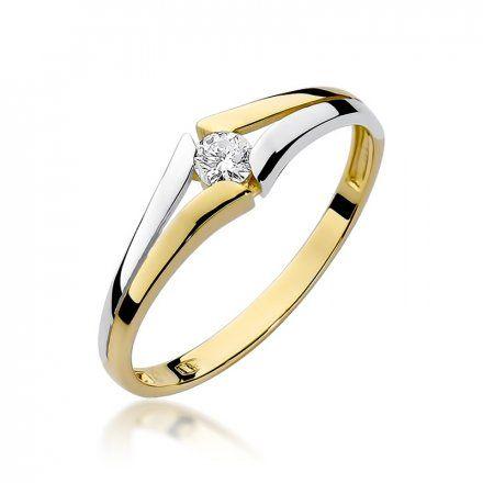Biżuteria SAXO 14K Pierścionek z brylantem 0,10ct W-207 Złoty