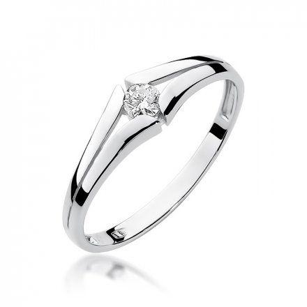 Biżuteria SAXO 14K Pierścionek z brylantem 0,10ct W-207 Białe Złoto