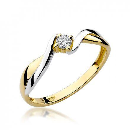 Biżuteria SAXO 14K Pierścionek z brylantem 0,10ct W-208 Złoty