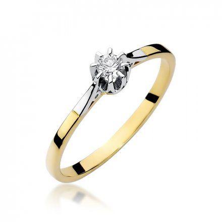 Biżuteria SAXO 14K Pierścionek z brylantem 0,10ct W-209 Złoty