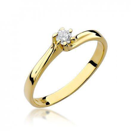 Biżuteria SAXO 14K Pierścionek z brylantem 0,10ct W-21 Złoty