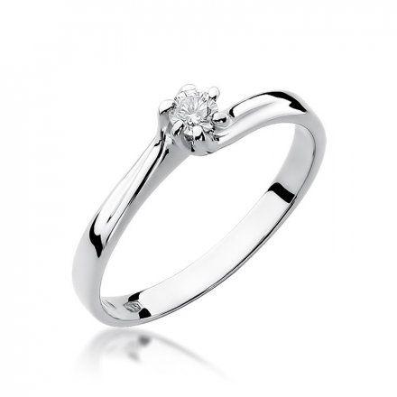 Biżuteria SAXO 14K Pierścionek z brylantem 0,10ct W-21 Białe Złoto