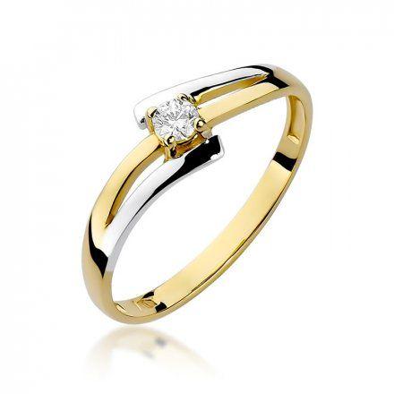 Biżuteria SAXO 14K Pierścionek z brylantami 0,10ct W-210 Złoty