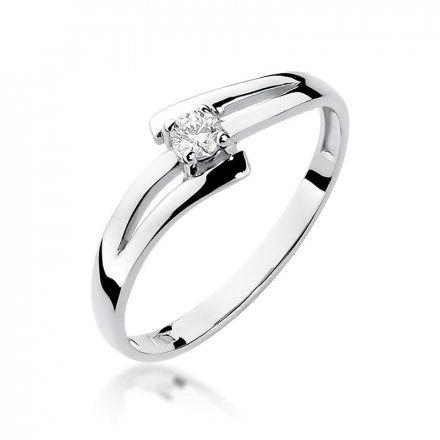 Biżuteria SAXO 14K Pierścionek z brylantami 0,10ct W-210 Białe Złoto