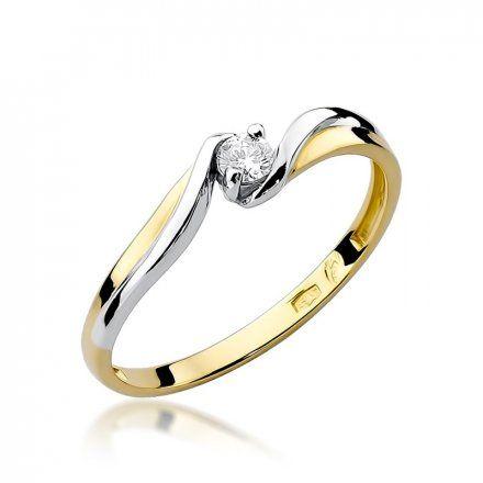 Biżuteria SAXO 14K Pierścionek z brylantem 0,10ct W-211 Złoty