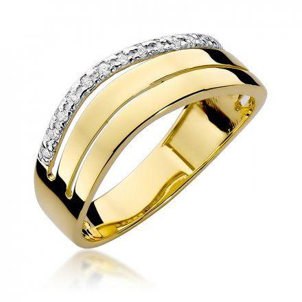 Biżuteria SAXO 14K Pierścionek z brylantami 0,09ct W-214 Złoty
