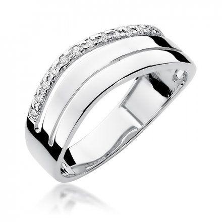 Biżuteria SAXO 14K Pierścionek z brylantami 0,09ct W-214 Białe Złoto