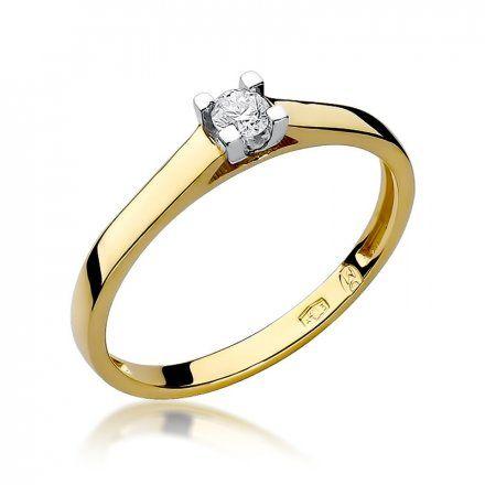 Biżuteria SAXO 14K Pierścionek z brylantem 0,10ct W-221 Złoty