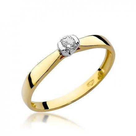 Biżuteria SAXO 14K Pierścionek z brylantem 0,10ct W-223 Złoty