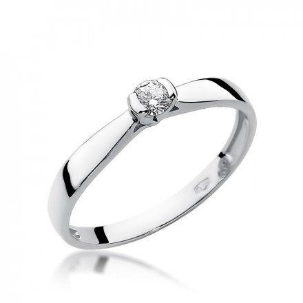 Biżuteria SAXO 14K Pierścionek z brylantem 0,10ct W-223 Białe Złoto