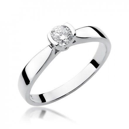 Biżuteria SAXO 14K Pierścionek z brylantem 0,25ct W-223 Białe Złoto