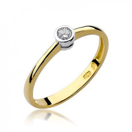 Biżuteria SAXO 14K Pierścionek z brylantem 0,10ct W-224 Złoty
