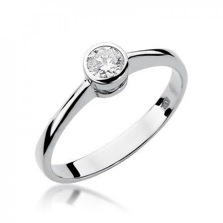 Biżuteria SAXO 14K Pierścionek z brylantem 0,30ct W-224 Białe Złoto