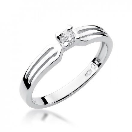 Biżuteria SAXO 14K Pierścionek z brylantem 0,08ct W-226 Białe Złoto