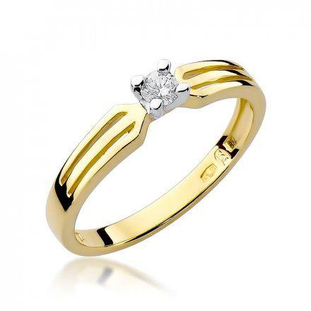 Biżuteria SAXO 14K Pierścionek z brylantem 0,10ct W-226 Złoty