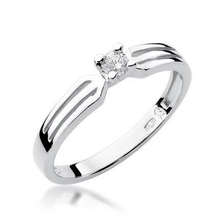 Biżuteria SAXO 14K Pierścionek z brylantem 0,10ct W-226 Białe Złoto