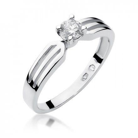 Biżuteria SAXO 14K Pierścionek z brylantem 0,25ct W-226 Białe Złoto