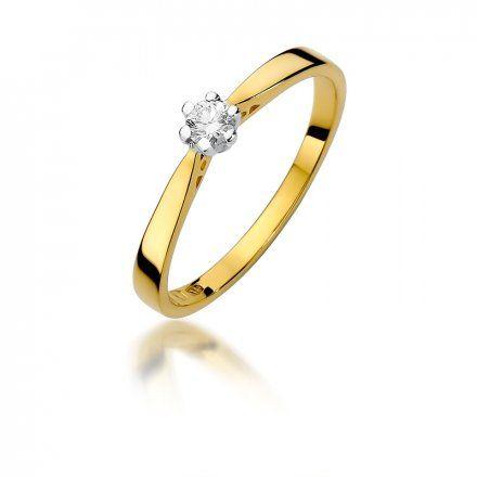 Biżuteria SAXO 14K Pierścionek z brylantem 0,10ct W-229 Złoty