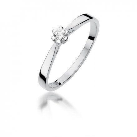 Biżuteria SAXO 14K Pierścionek z brylantem 0,10ct W-229 Białe Złoto