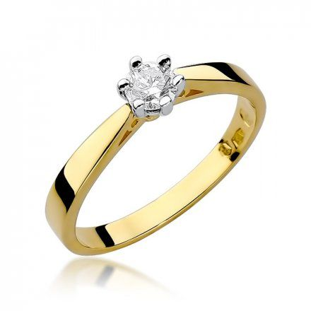 Biżuteria SAXO 14K Pierścionek z brylantem 0,25ct W-229 Złoty