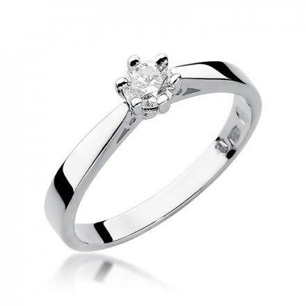 Biżuteria SAXO 14K Pierścionek z brylantem 0,25ct W-229 Białe Złoto