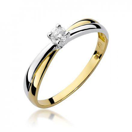 Biżuteria SAXO 14K Pierścionek z brylantem 0,10ct W-230 Złoty