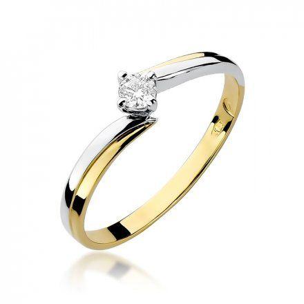 Biżuteria SAXO 14K Pierścionek z brylantem 0,10ct W-231 Złoty