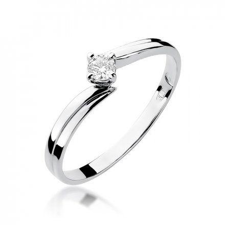 Biżuteria SAXO 14K Pierścionek z brylantem 0,10ct W-231 Białe Złoto