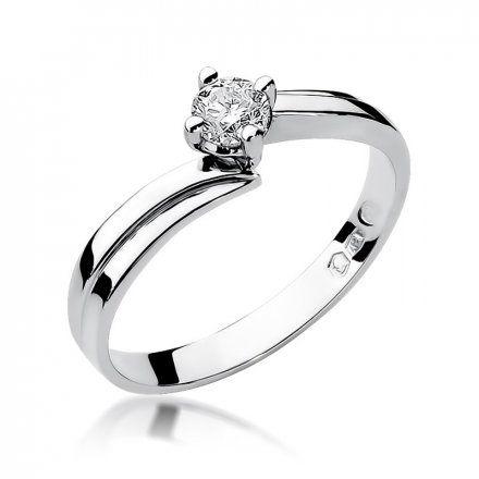 Biżuteria SAXO 14K Pierścionek z brylantem 0,25ct W-231 Białe Złoto