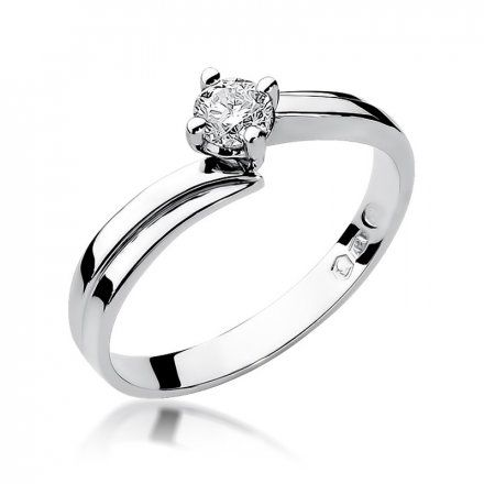 Biżuteria SAXO 14K Pierścionek z brylantem 0,30ct W-231 Białe Złoto